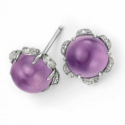 9ct White Gold Amethyst Diamond Flower Stud Earrings GE969M