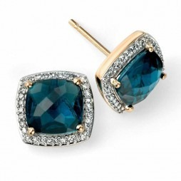 9ct Gold Cushion-cut London Blue Topaz and Diamond Cluster Studs GE985T