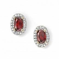 9ct Gold Oval Garnet and Diamond Cluster Studs GE995R
