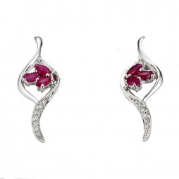 9ct White Gold Marquise Ruby and Diamond Swirl Dropper Earrings 34.09067.001