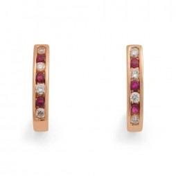 9ct Gold Channel Set Ruby and Diamond Half Hoop Earrings 20.01782.087
