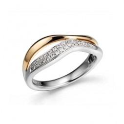 9ct Two Colour Diamond-set Wave Ring 32.08408.010 L