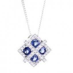 18ct White Gold Diamond Sapphire Square Fancy Pendant 18DP150-S-W