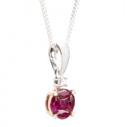 18ct Gold Diamond and Ruby Round Cluster Pendant 18DP403-R-R2C
