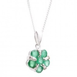 18ct White Gold Diamond Emerald Flower Pendant 18DP153-E-W