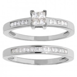 14ct White Gold Princess Cut Diamond Bridal Set SKR4766-50 14CT P