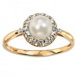 9ct Yellow Gold Freshwater Pearl and Diamond Cluster Ring GK-GR376W