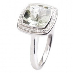 9ct White Gold Green Amethyst Diamond Halo Ring 9DR442-GAM-W