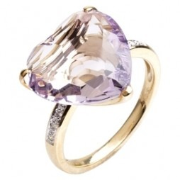 9ct Gold Heart-cut Amethyst Diamond Shouldered Ring 9DR402/AM/Y