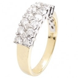 18ct Gold Three Row 1.00ct Diamond Half Eternity Ring 18DR300-2C O