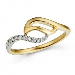 9ct Two Colour Gold Diamond Swirl Ring 32.09268.002