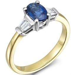 18ct Gold Oval Sapphire and Baguette-cut Diamond Cluster Ring 18DR250-S-2C M