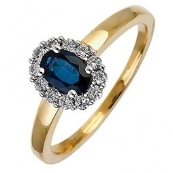 18ct Gold Oval Sapphire and Diamond Cluster Ring 18DR254-S-2C M