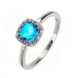 9ct White Gold Blue Topaz Square Cluster Ring 9DR271-BT-W