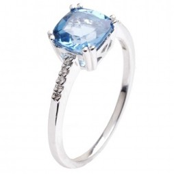 9ct White Gold Blue Topaz Diamond Shoulders Ring 9DR272-BT-W