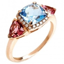 9ct Rose Gold Topaz Tourmaline and Diamond Ring 9DR410-BT-R