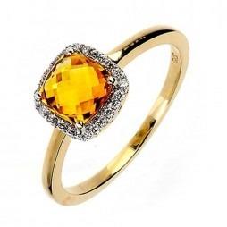9ct Gold Citrine Diamond Halo Ring 9DR271-ct-2C