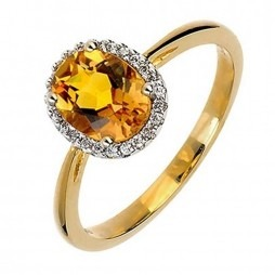 9ct Gold Citrine and Diamond Cluster Ring 9DR275-CT-2C