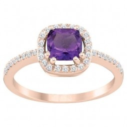 9ct Rose Gold Amethyst and Diamond Cluster Ring SKR12209-A M