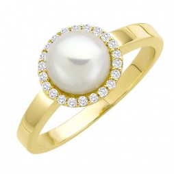 9ct Yellow Gold Pearl and Diamond Halo Ring R900081