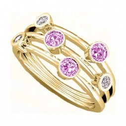 9ct Gold Three Row Pink Topaz And Diamond Ring 9507/9Y/DQ10