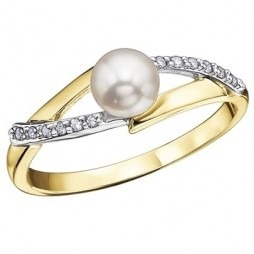 9ct 2 Colour Diamond Culture Pearl Fancy Ring 51Y56-10