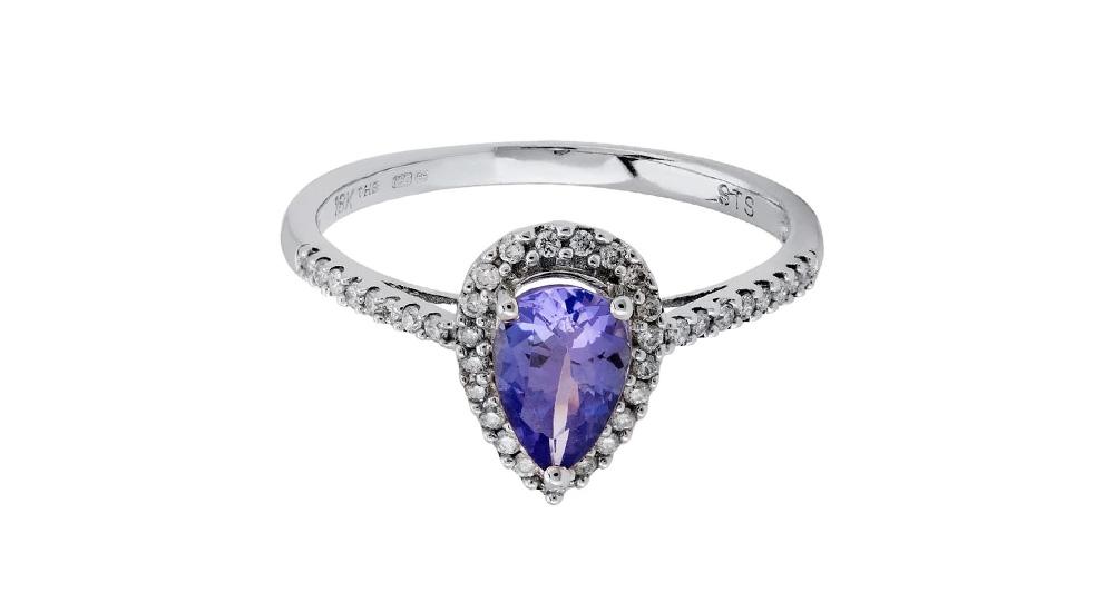 Tanzanite and diamond white gold engagement ring