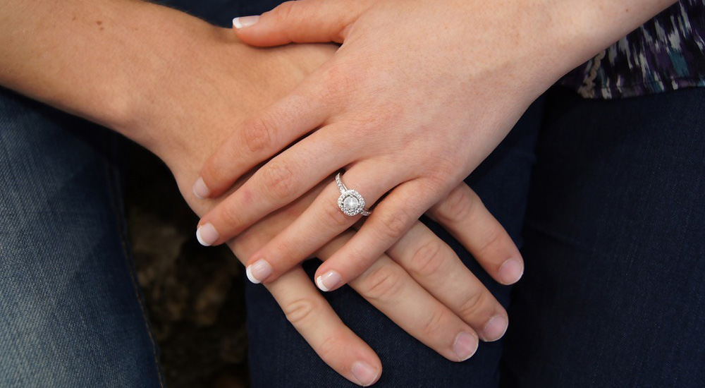 woman wearing engagement ring