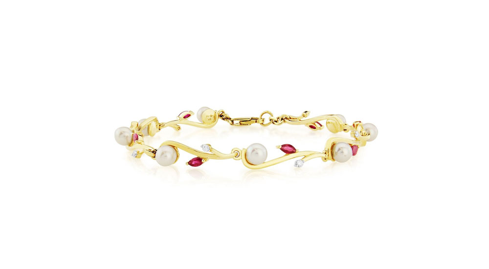 9ct Gold Cultured Pearl Ruby and Diamond Bracelet