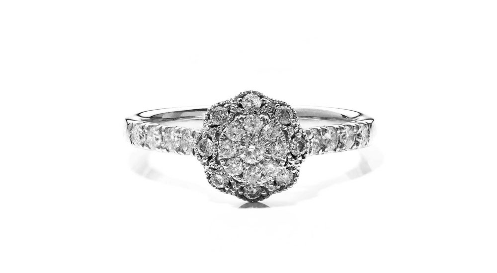9ct White Gold Cluster and Shouldered Diamond Ring
