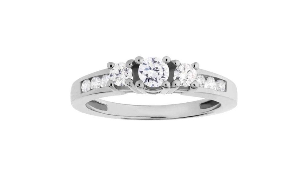 9ct White Gold Three Stone Diamond Shouldered Ring