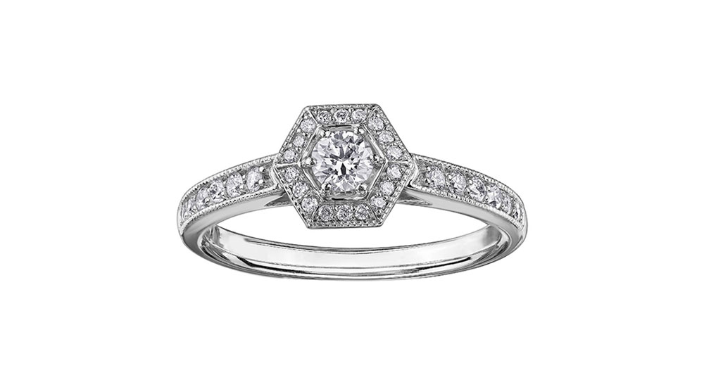 9ct White Gold Vintage Diamond Hexagonal Cluster Ring