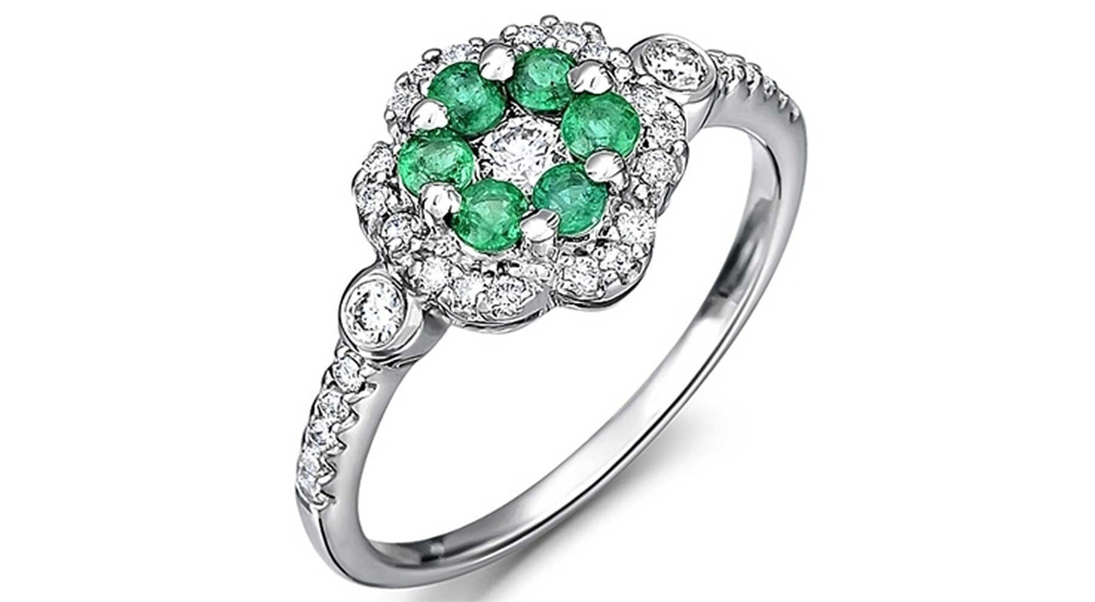 18ct White Gold Emerald and Diamond Flower Cluster Ring