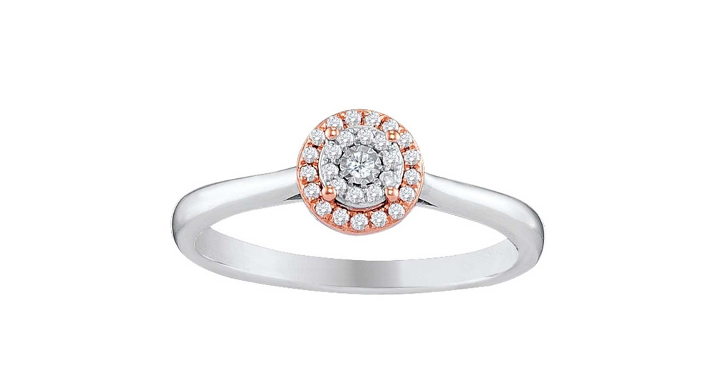 9ct Two Tone White and Rose Gold Illusion Diamond Cluster Engagement Ring