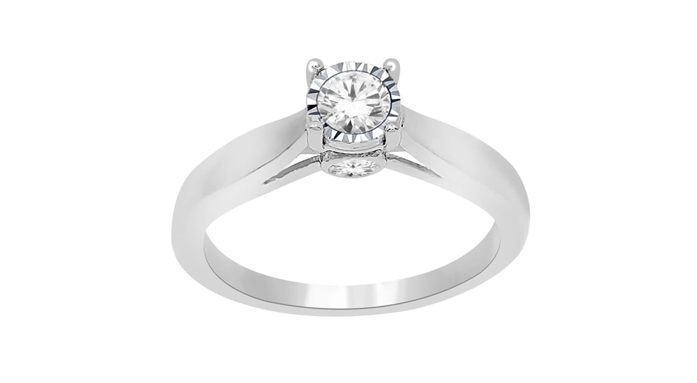 9ct White Gold Illusion Set Diamond Solitaire Engagement Ring