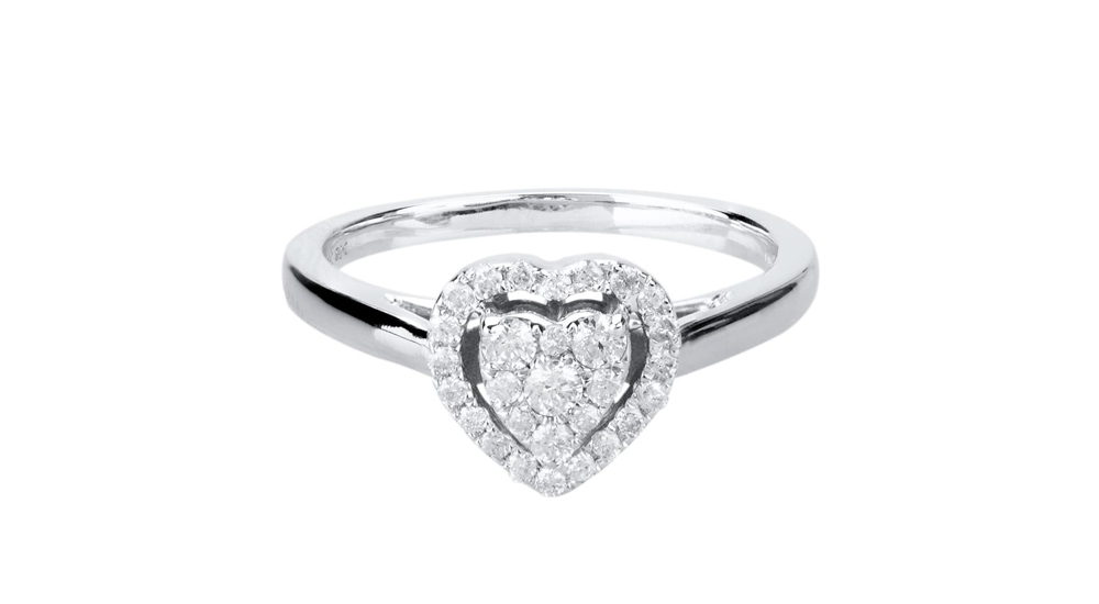 9ct White Gold Pave Diamond Heart Halo Engagement Ring