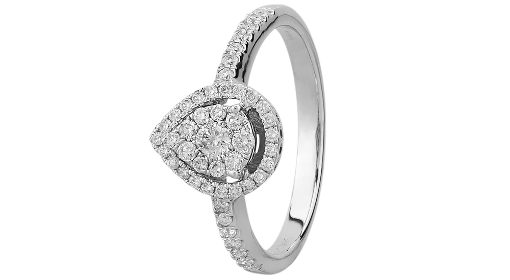 9ct White Gold Pear Shape Diamond Cluser Engagement Ring