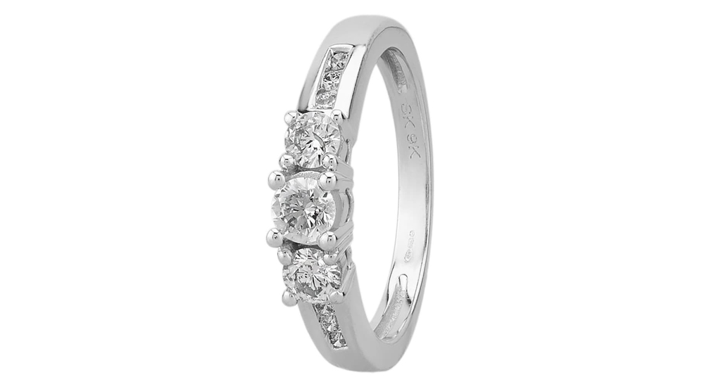 9ct White Gold Three Stone Diamond Engagement Ring