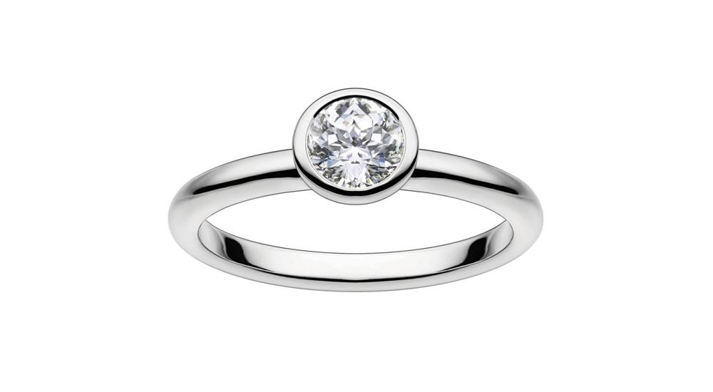 Mastercut Contemporary 18ct white gold bezel-set 0.20ct diamond engagement ring