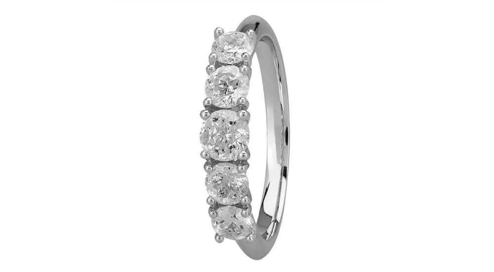 Mastercut Simplicity four claw 18ct white gold five stone diamond ring
