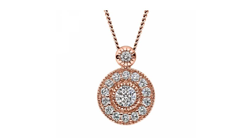 Mastercut Vintage 18ct Rose Gold Diamond Pendant