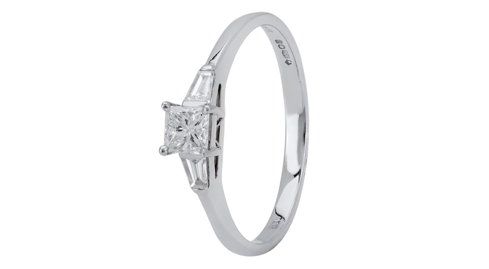 PLatinum Princess and Baguette Diamond Engagement Ring