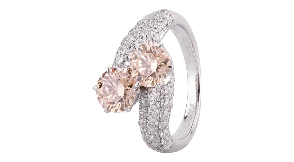 Second Hand Platinum White and Pink Diamond Twist Ring