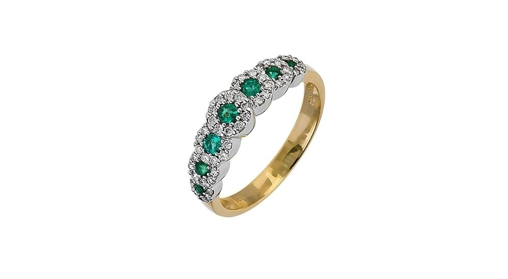 18ct Gold Emerald and Diamond Seven Stone Cluster Ring