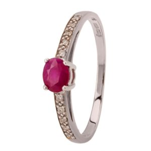 9ct White Gold Oval Ruby and Diamond Shouldered Ring