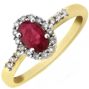 9ct Ruby and Diamond Cluster Ring