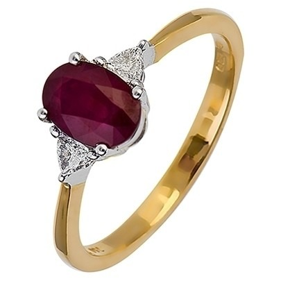 18ct Gold Oval Ruby and Trillion Diamond Ring