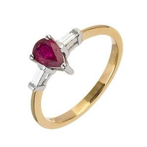 18ct Gold Ruby and Baguette Diamond Ring