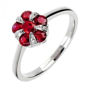 18ct White Gold Ruby and Diamond Cluster Flower Ring
