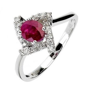 18ct White Gold Oval Ruby Diamond Ring